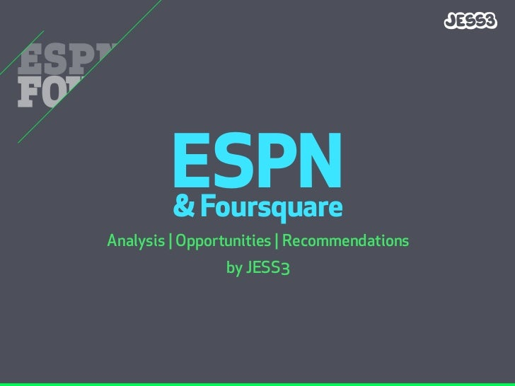ESPN         & Foursquare Analysis | Opportunities | Recommendations                 by JESS3