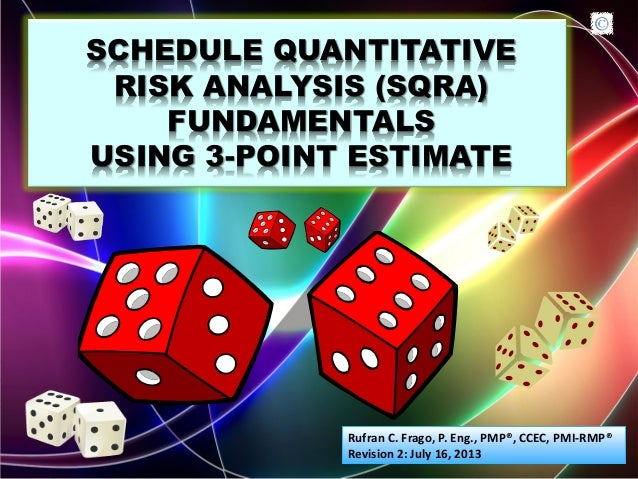 SCHEDULE QUANTITATIVE RISK ANALYSIS (SQRA) FUNDAMENTALS USING 3-POINT ESTIMATE Rufran C. Frago, P. Eng., PMP®, CCEC, PMI-R...