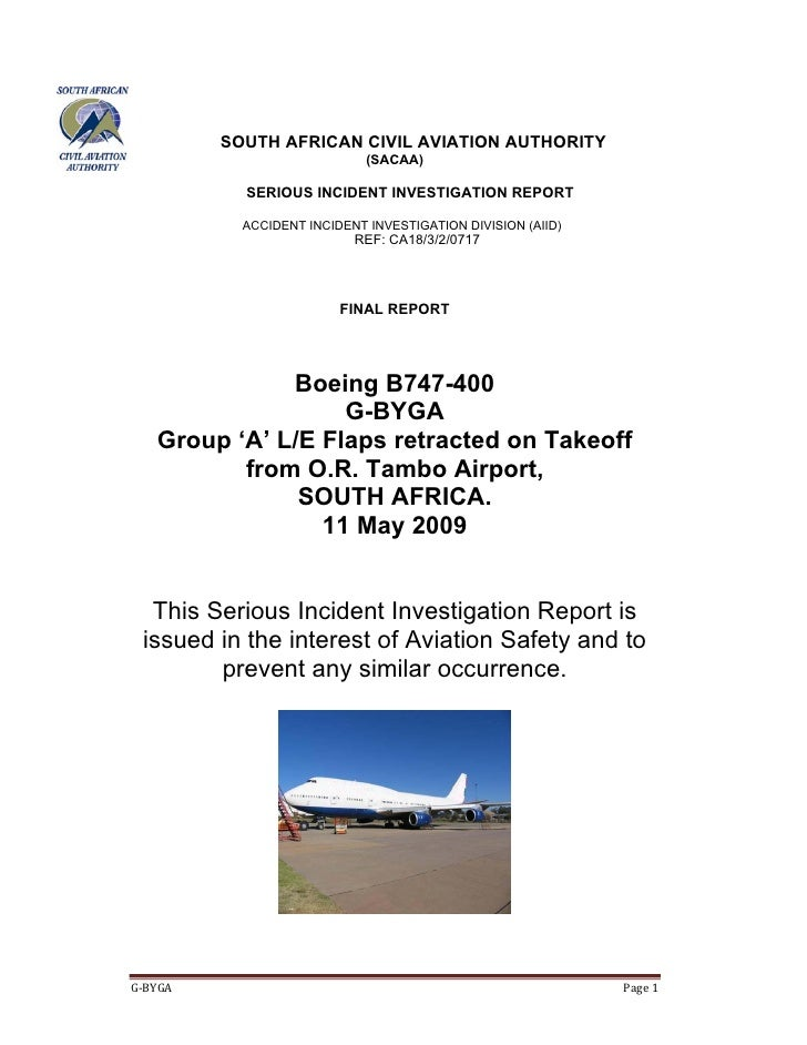SOUTH AFRICAN CIVIL AVIATION AUTHORITY                            (SACAA)           SERIOUS INCIDENT INVESTIGATION REPORT ...