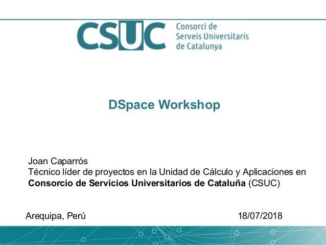 DSpace Workshop Joan Caparrós Técnico líder de proyectos en la Unidad de Cálculo y Aplicaciones en Consorcio de Servicios ...