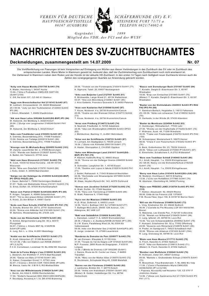 VEREIN FÜR DEUTSCHE                                                  SCHÄFERHUNDE (SV) E.V.                               ...