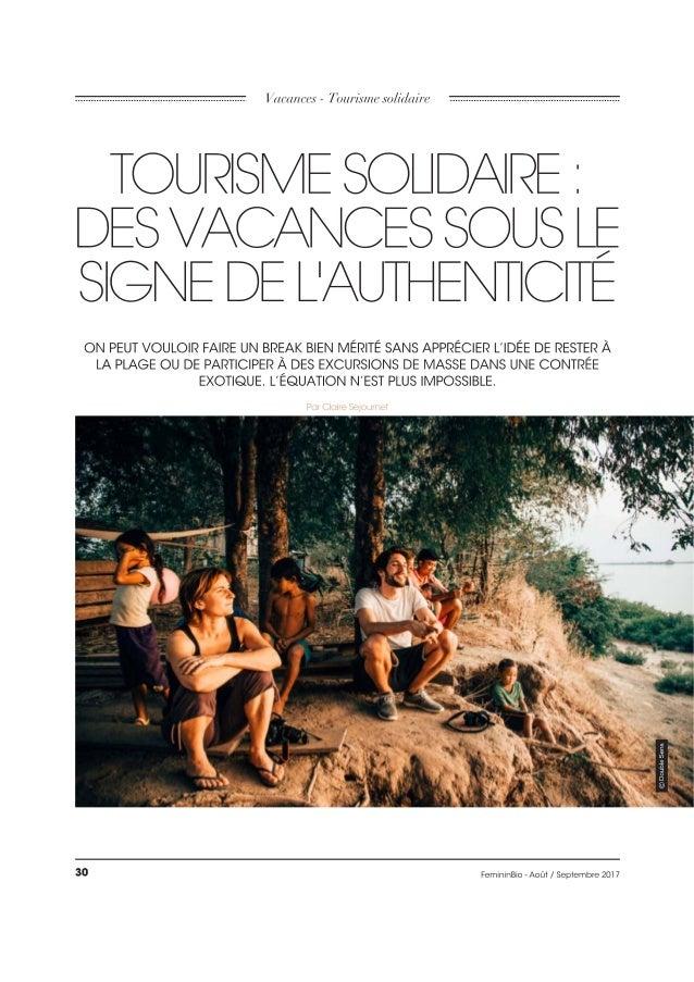 Tourisme Solidaire : des vacances sous le signe de l'authenticité | FemininBio - Août / Septembre 2017