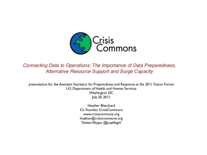Connecting Data to Operations: The Importance of Data Preparedness,         Alternative Resource Support and Surge Capacit...