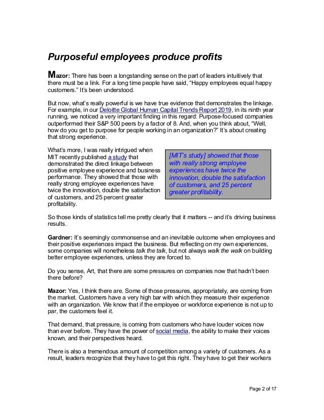 Page 2 of 17 Purposeful employees produce profits Mazor: There has been a longstanding sense on the part of leaders intuit...