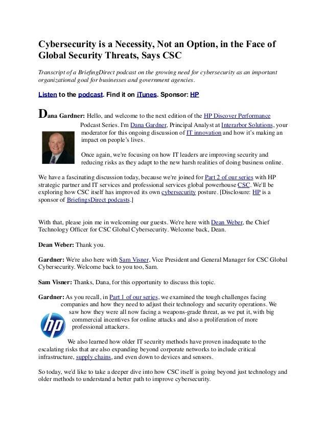 Cybersecurity is a Necessity, Not an Option, in the Face of Global Security Threats, Says CSC Transcript of a BriefingDirec...