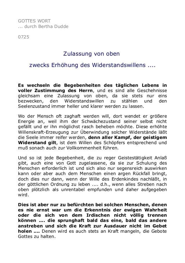 GOTTES WORT ... durch Bertha Dudde 0725 Zulassung von oben zwecks Erhöhung des Widerstandswillens .... Es wechseln die Beg...