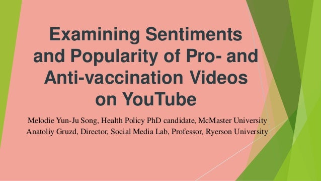 Examining Sentiments and Popularity of Pro- and Anti-vaccination Videos on YouTube Melodie Yun-Ju Song, Health Policy PhD ...