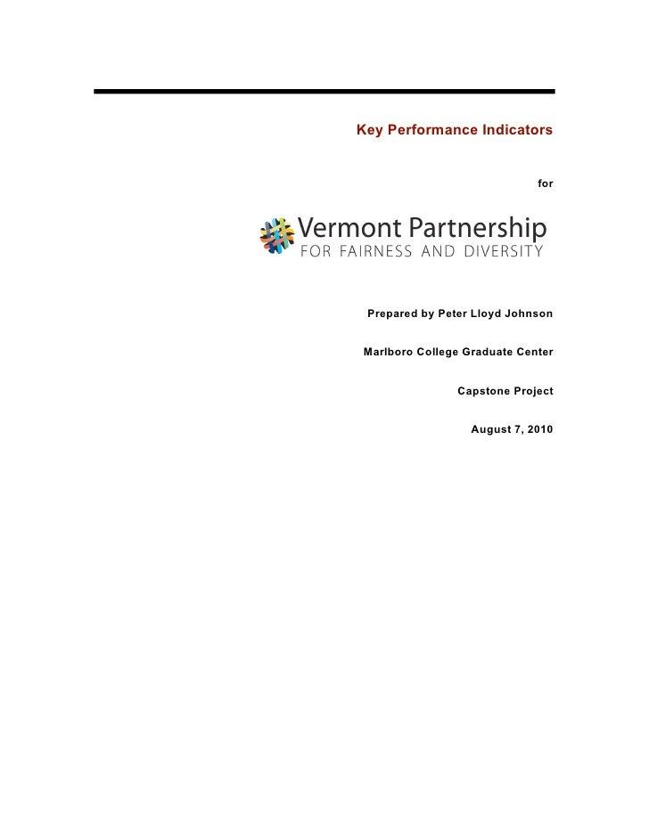 Key Performance Indicators                                for      Prepared by Peter Lloyd Johnson   Marlboro College Grad...