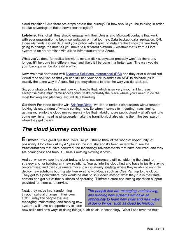 Page 11 of 13 cloud transition? Are there pre-steps before the journey? Or how should you be thinking in order to take adv...