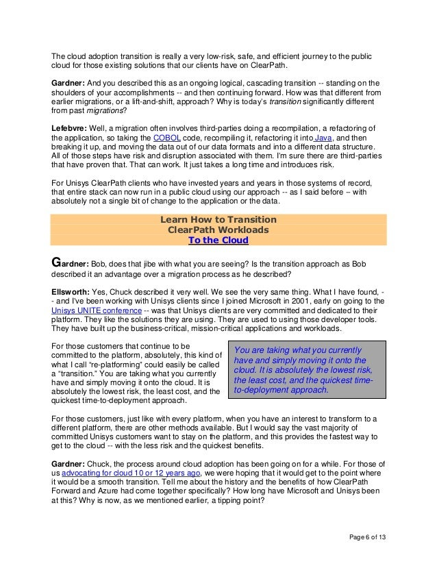 Page 6 of 13 The cloud adoption transition is really a very low-risk, safe, and efficient journey to the public cloud for ...