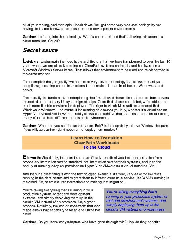 Page 8 of 13 all of your testing, and then spin it back down. You get some very nice cost savings by not having dedicated ...