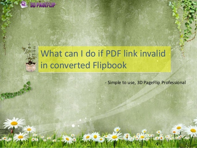 What can I do if PDF link invalid in converted Flipbook - Simple to use, 3D PageFlip Professional