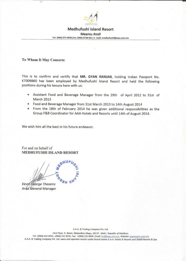 Medhufushi Island Resort Experience Certificate