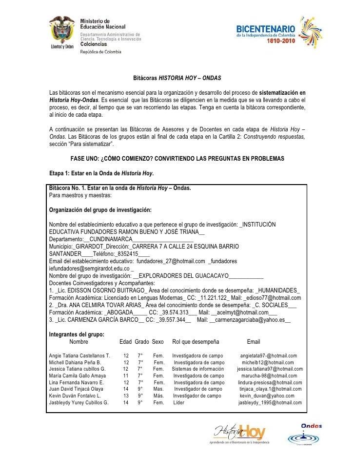 Bitácoras HISTORIA HOY – ONDAS  Las bitácoras son el mecanismo esencial para la organización y desarrollo del proceso de s...