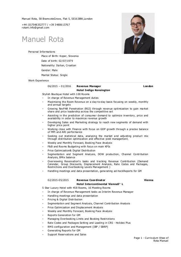 Manuel Rota Cv Hotel Revenue