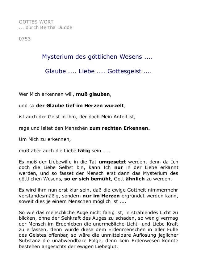 GOTTES WORT ... durch Bertha Dudde 0753 Mysterium des göttlichen Wesens .... Glaube .... Liebe .... Gottesgeist .... Wer M...