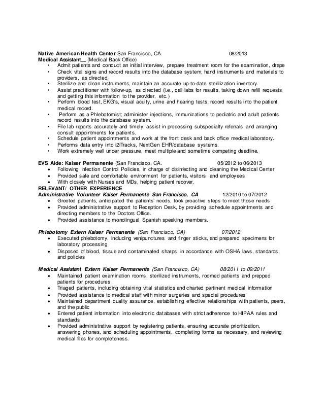 RESUME MEDICAL EVALUATIONS ASSISTANT