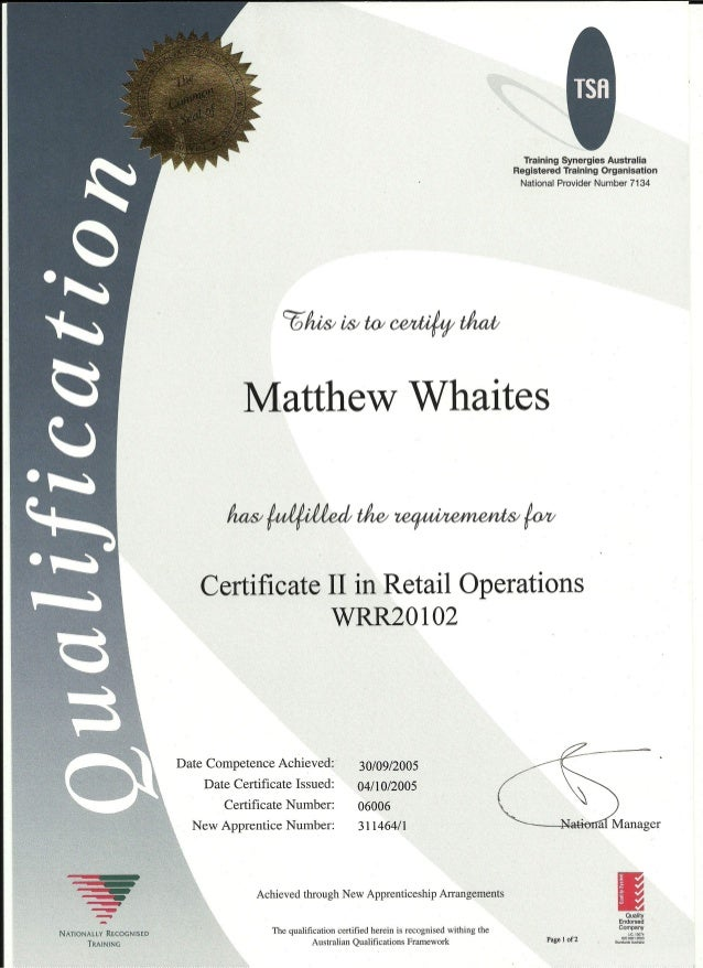 Matthew Whaites Certificate 2 In Retail Operations0001