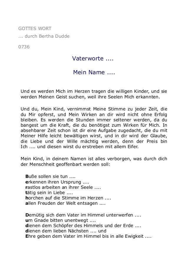 GOTTES WORT ... durch Bertha Dudde 0736  Vaterworte .... Mein Name .... Und es werden Mich im Herzen tragen die willigen K...