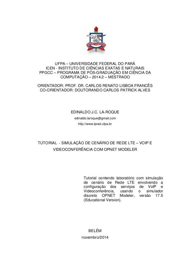 UFPA – UNIVERSIDADE FEDERAL DO PARÁ ICEN - INSTITUTO DE CIÊNCIAS EXATAS E NATURAIS PPGCC – PROGRAMA DE PÓS-GRADUAÇÃO EM CI...