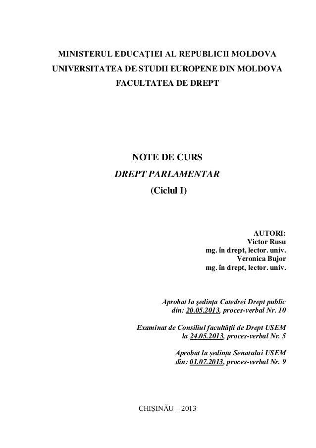 MINISTERUL EDUCAŢIEI AL REPUBLICII MOLDOVA UNIVERSITATEA DE STUDII EUROPENE DIN MOLDOVA FACULTATEA DE DREPT NOTE DE CURS D...
