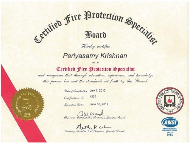 Cfps Certified Fire Protectiona Specilist Nfpa