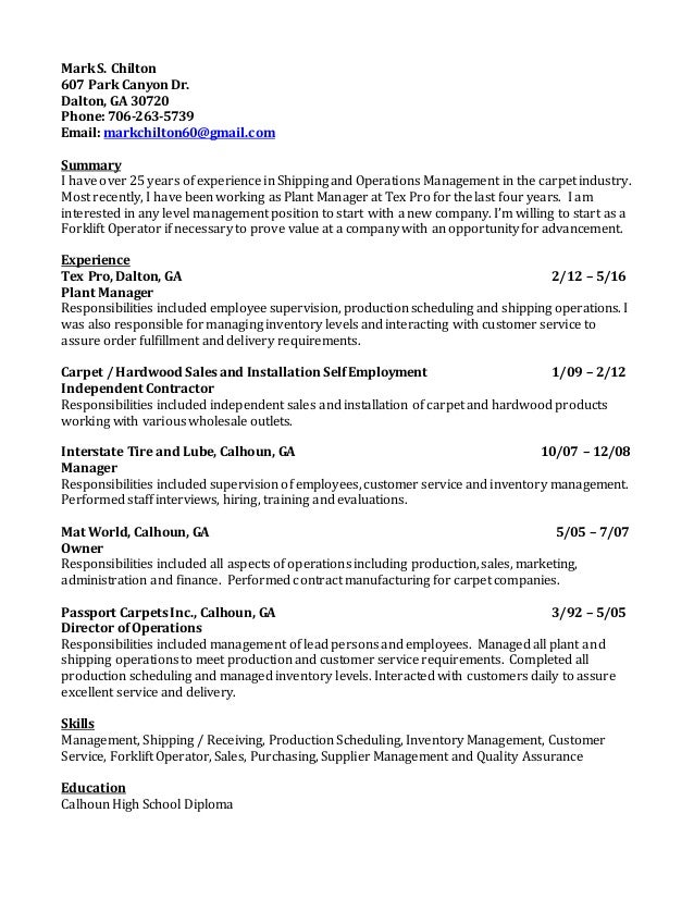 Mark Chilton Resume and Cover Letter