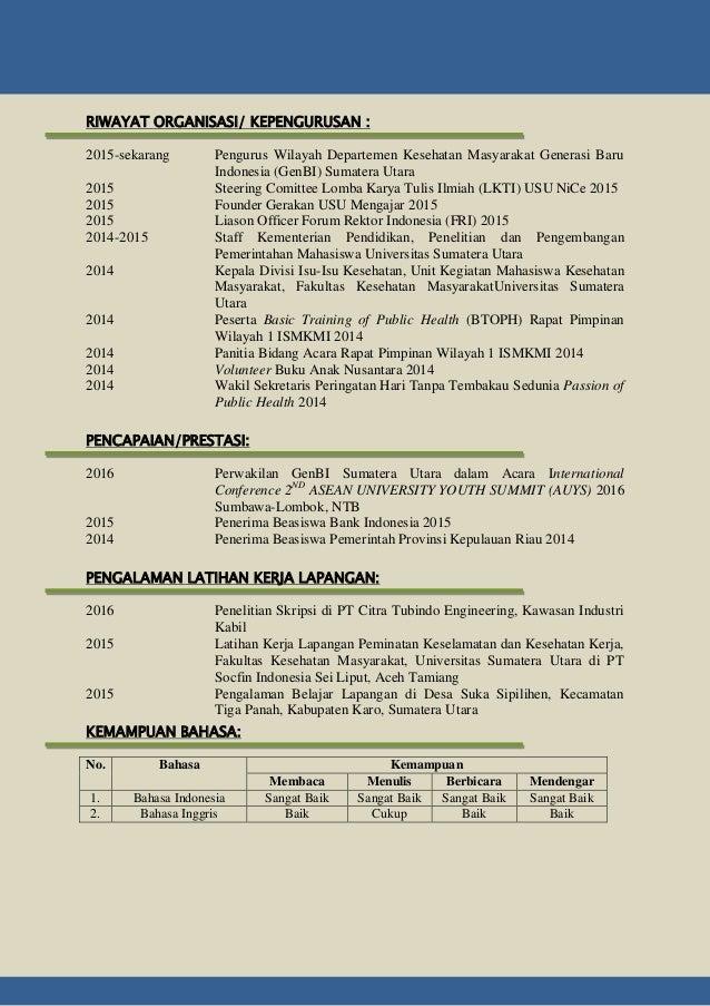 Contoh Resume Pribadi Beasiswa Bank Indonesia Berbagai Contoh