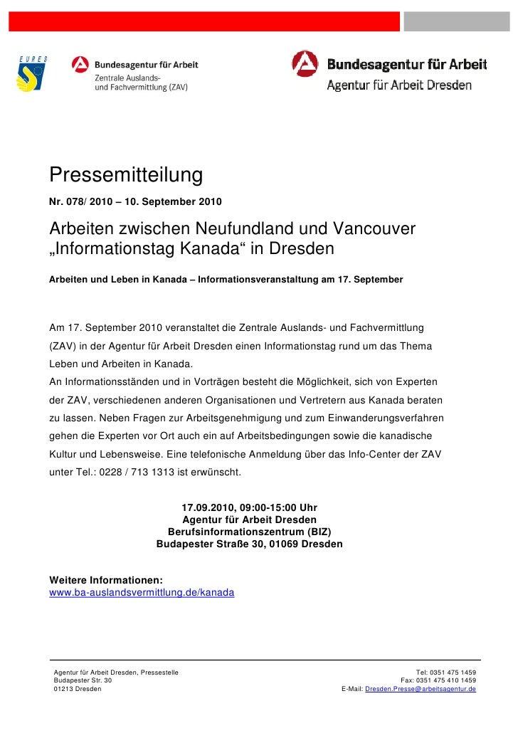 """PressemitteilungNr. 078/ 2010 – 10. September 2010Arbeiten zwischen Neufundland und Vancouver""""Informationstag Kanada"""" in D..."""