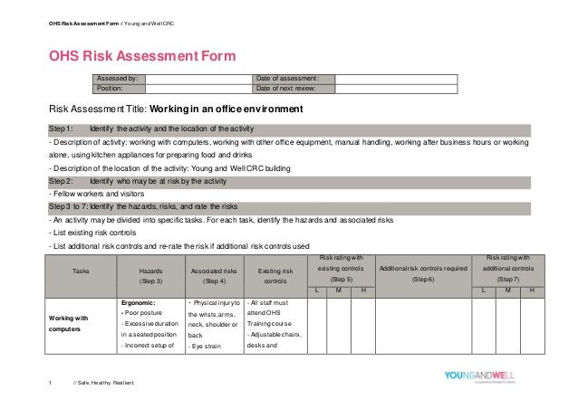 OHS Risk Assessment Form // Young And Well CRC 1 // Safe.