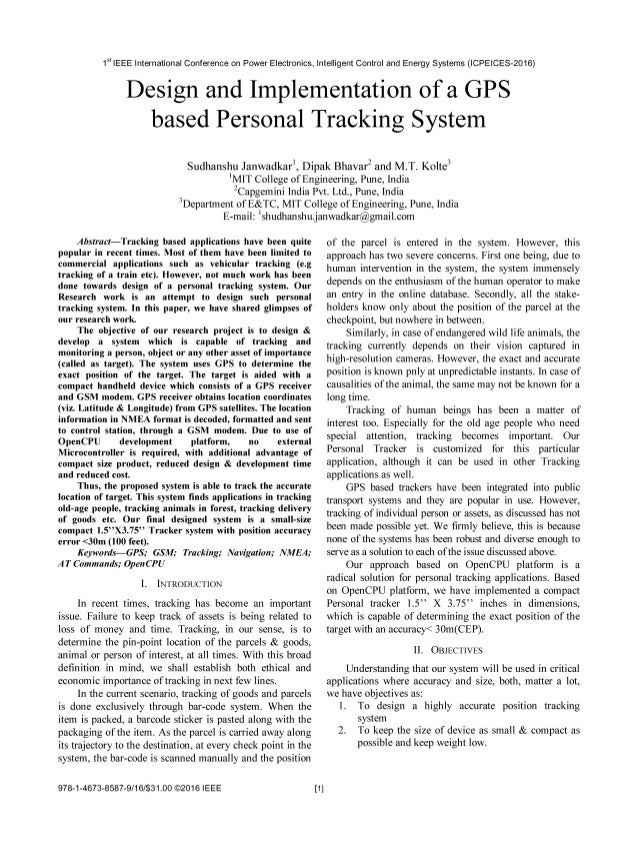 Design and Implementation of a GPS based Personal Tracking System