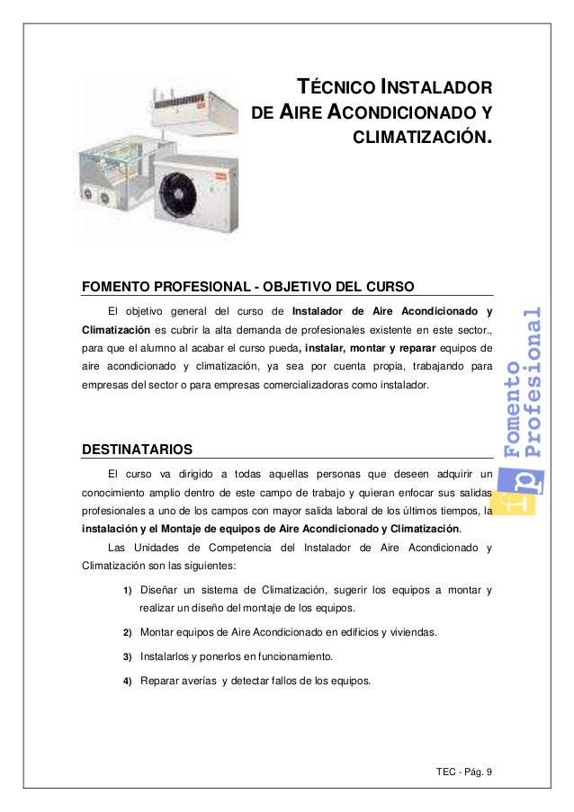 T 233 Cnico Instalador De Aire Acondicionado Y Climatizaci 243 N