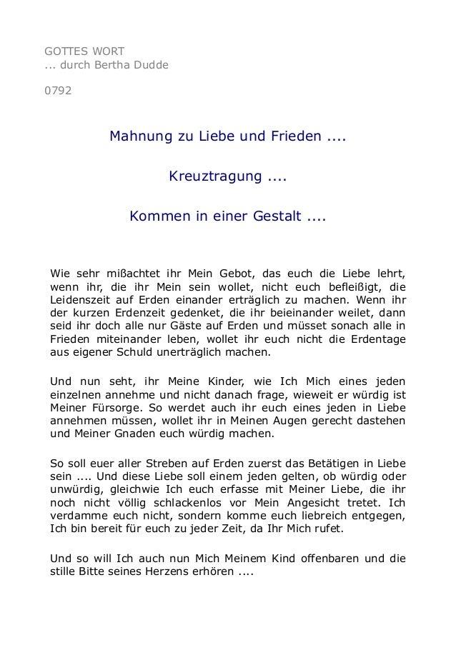 GOTTES WORT ... durch Bertha Dudde 0792 Mahnung zu Liebe und Frieden .... Kreuztragung .... Kommen in einer Gestalt .... W...