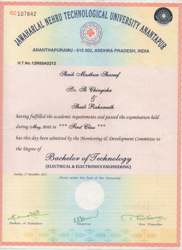 B-Tech Degree Certificate