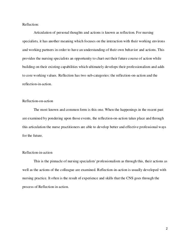 nursing reflective essay on the adaptation course Reflective learners assimilate new learning, relate it to what they already know, adapt it for their own purposes, and translate thought into action.