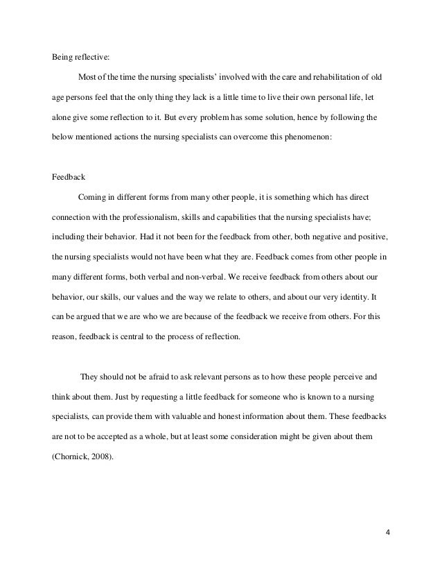 reflection on nursing essay 3 4 being reflective