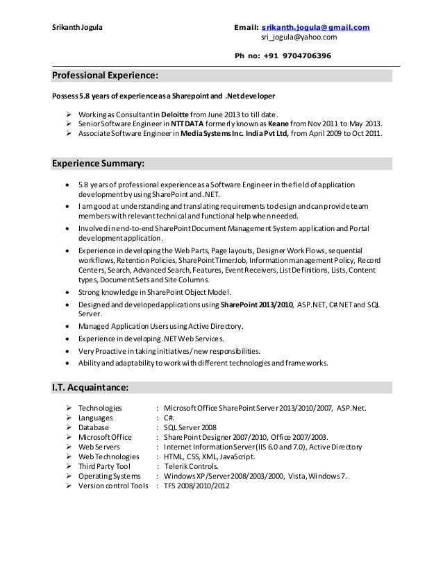 Srilakshmi NET Developer Resume Free Resume Templates  Sharepoint Developer Resume