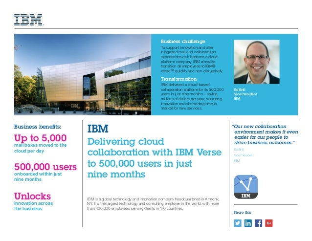 Share this Ed Brill Vice President IBM IBM is a global technology and innovation company headquartered in Armonk, NY. It i...