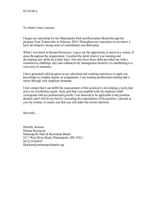cover letter 02182014 to whom it may concern i began my internship for - Recreation Cover Letter