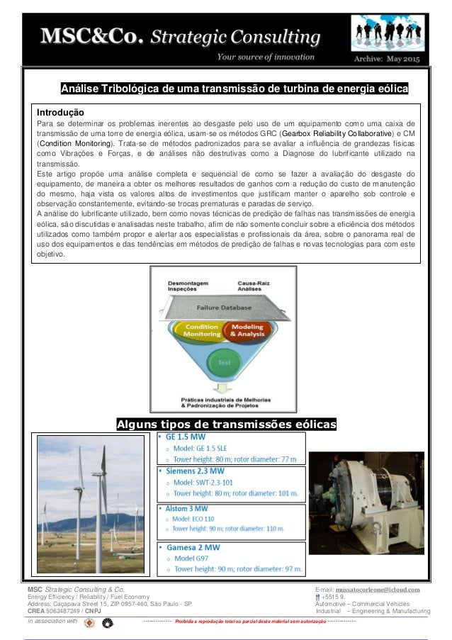 MSC Strategic Consulting & Co. E-mail: mussatocorleone@icloud.com Energy Efficiency / Reliability / Fuel Economy +5515 9. ...