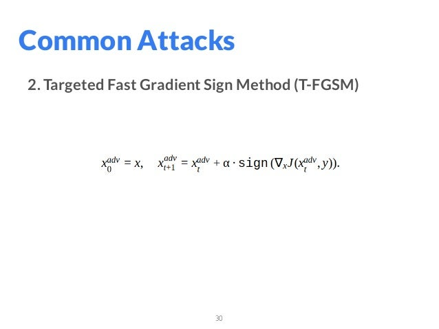 30 Common Attacks 2. Targeted Fast Gradient Sign Method (T-FGSM)