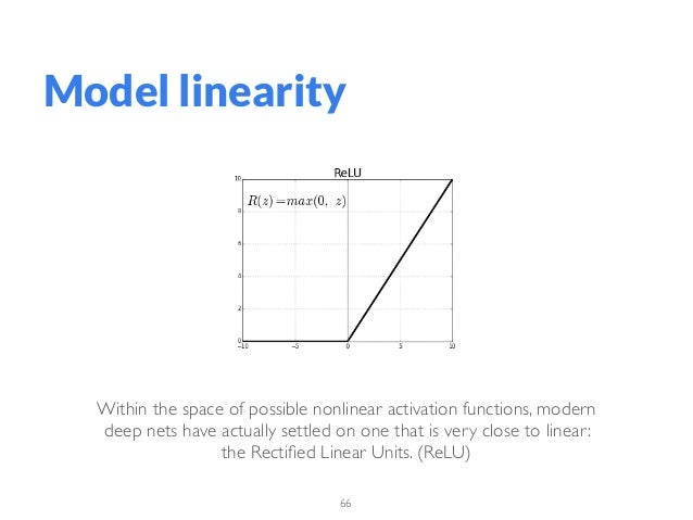 66 Model linearity Within the space of possible nonlinear activation functions, modern deep nets have actually settled on ...