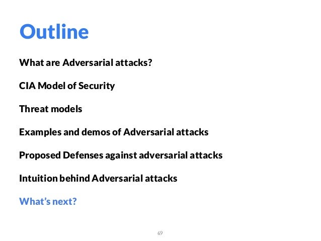 What are Adversarial attacks? CIA Model of Security Threat models Examples and demos of Adversarial attacks Proposed Defen...