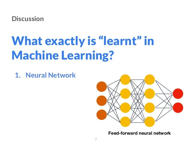 """What exactly is """"learnt"""" in Machine Learning? Discussion 1. Neural Network 7 Feed-forward neural network"""