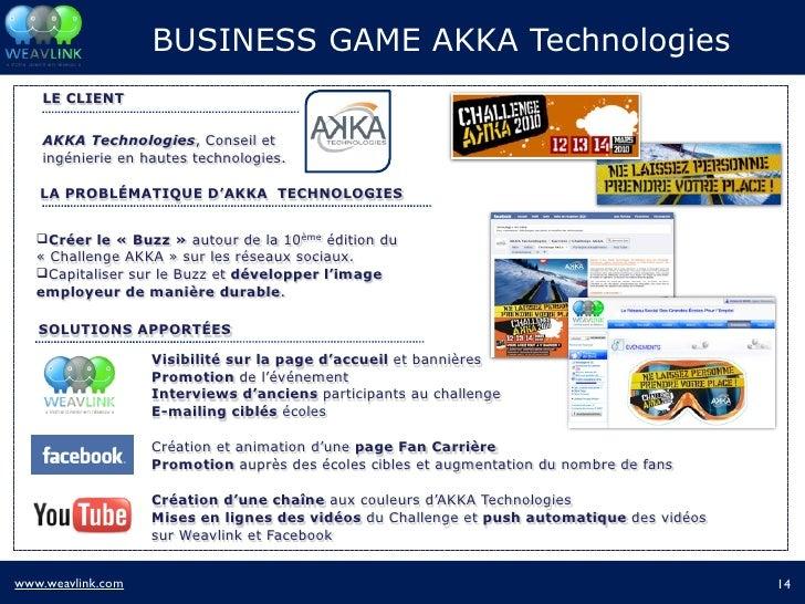 BUSINESS GAME AKKA Technologies     LE CLIENT       AKKA Technologies, Conseil et     ingénierie en hautes technologies.  ...