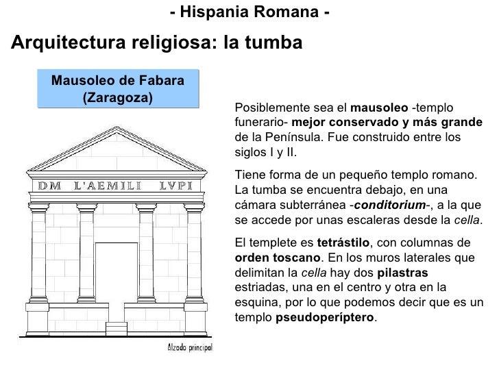 - Hispania Romana - Arquitectura religiosa: la tumba Mausoleo de Fabara (Zaragoza) Posiblemente sea el  mausoleo  -templo ...