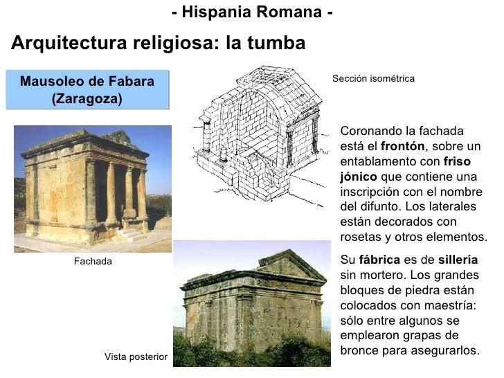 - Hispania Romana - Arquitectura religiosa: la tumba Mausoleo de Fabara (Zaragoza) Coronando la fachada está el  frontón ,...