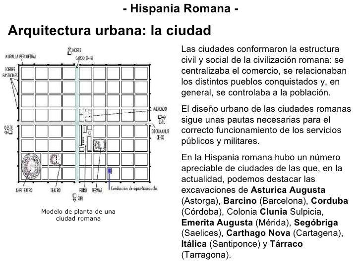- Hispania Romana - Arquitectura urbana: la ciudad Las ciudades conformaron la estructura civil y social de la civilizació...