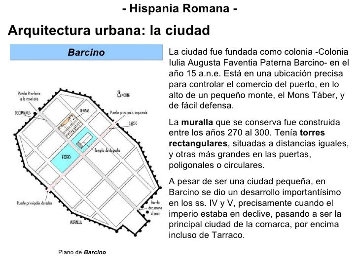 - Hispania Romana - Arquitectura urbana: la ciudad La ciudad fue fundada como colonia -Colonia Iulia Augusta Faventia Pate...