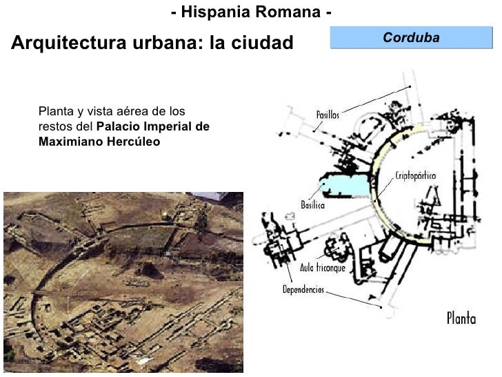 - Hispania Romana - Arquitectura urbana: la ciudad Corduba Planta y vista aérea de los restos del  Palacio Imperial de Max...